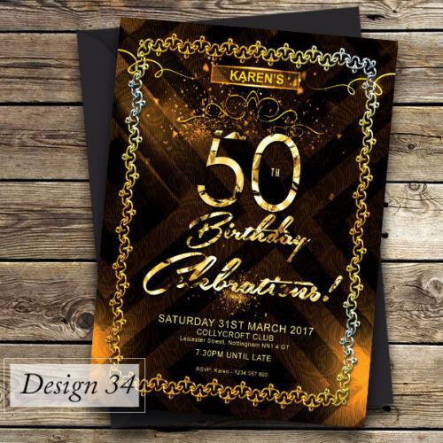 Personalised Birthday Invitationsany age 21st 18th Design 3 50th 40th