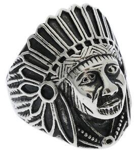 Native Cadran Tête Coiffe Acier Inoxydable Homme Bague Size 12 7NDoG5y4-09152944-180415777