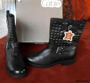 bottines cables cloutées cuir