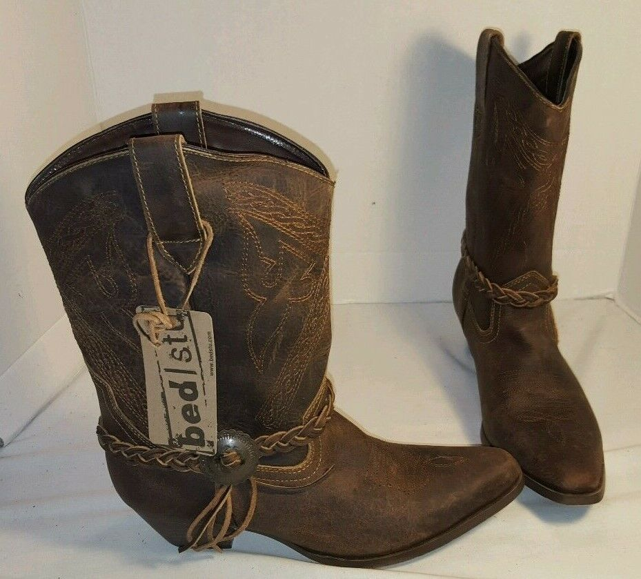 NEW WOMENS BED STU ARECA TAN GREENLAND LEATHER COWBOY BOOTS WESTERN SIZE US 8