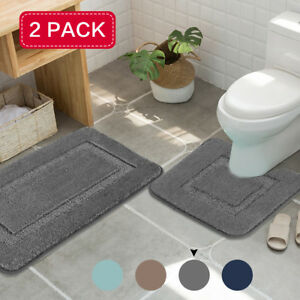 2x Bath Mat Set Thick Soft Rugs