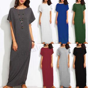 ZANZEA-Women-Summer-Long-Maxi-Dress-Casual-Plain-Short-Sleeve-T-Shirt-Dress-Plus