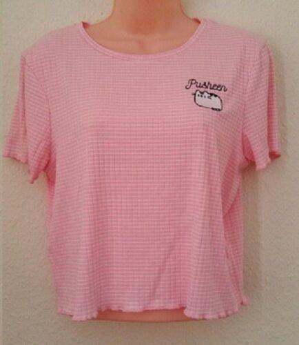 Femmes Primark Pusheen Cat Rose Vacances Été Top Court T-shirt femme BNWT