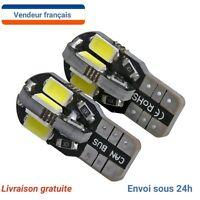🌟X2 Veilleuses LED W5W T10 Canbus ANTI ERREUR BLANC XENON 6000k 8 LED