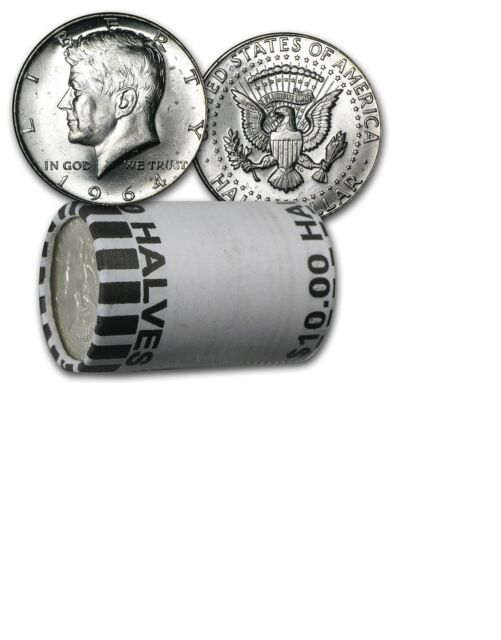 $10 Roll Kennedy 1964 BU Silver Half Dollars Uncirculated