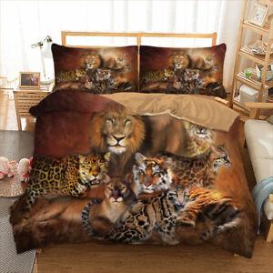 Animal-Duvet-Cover-Set-For-Comforter-Queen-King-Size-Bedding-Set-Tiger-Lion-US