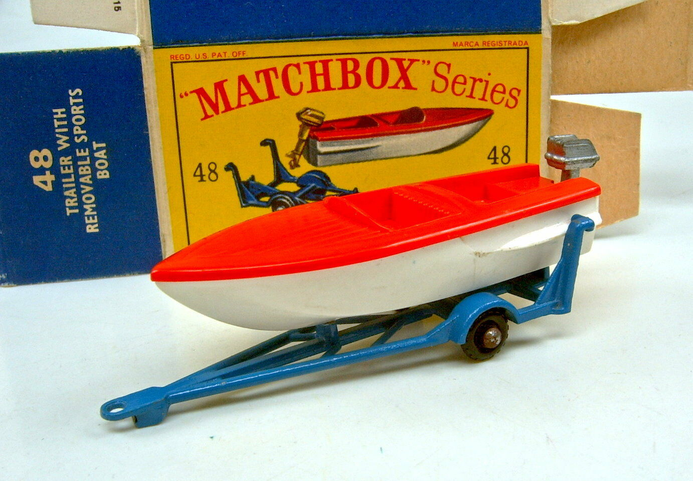 Matchbox Rw 48b Sports Boat & Trailer RARE Medium bluee trailer in  D  box