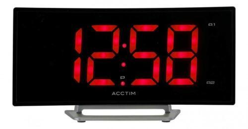 Large Red 1.8 Jumbo LED Black Dual Alarm Clock Brightness Control Mains Powered