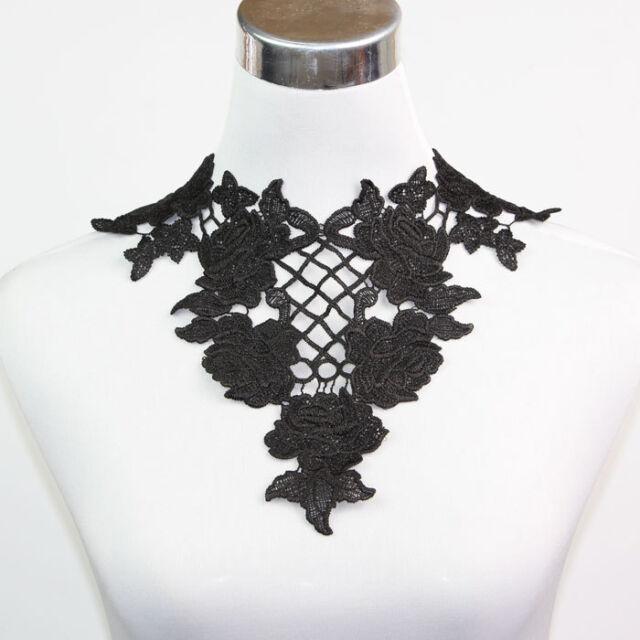 Fabric Venise Lace Sewing Applique Neckline Collar Off White Black for Pick