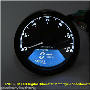 lcddigital tachometer speedometer odometer motorcycle motorbike 12000rpm kmh mph ebay. Black Bedroom Furniture Sets. Home Design Ideas