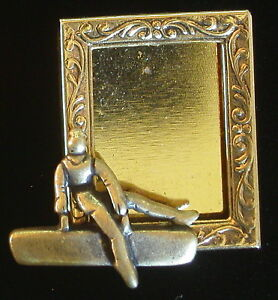 Gymnast-Male-Photo-Frame-Pin-Gymnastic-Horse-24-Karat-Gold-Plate-Brass