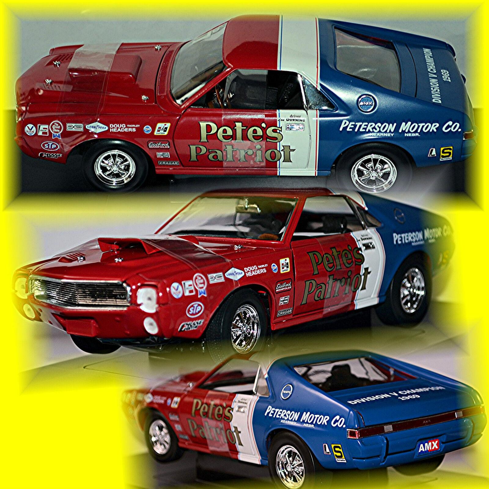 Amc racing'69 S s AMX 1969 pete's patriota rosso blu-rosso blu 1 18 Ertl