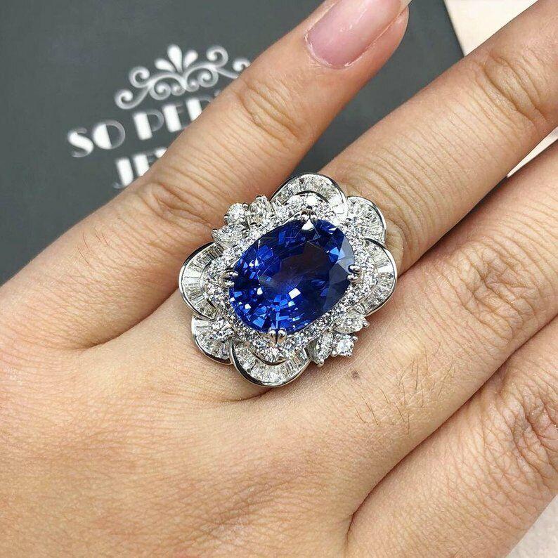 Ceylon 14.88TCW bluee Sapphire & White Multi Shape CZ Genuine Cornflower Ring