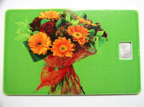 Silberbarren Geschenkkarte # 10 Valcambi Motiv : Blumenstrauß