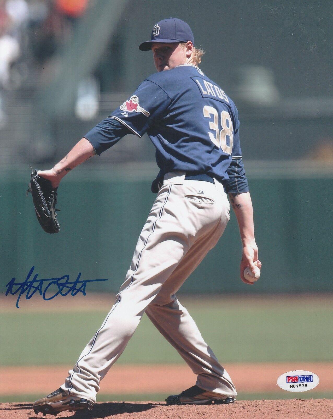 Mat Latos Signed San Diego Padres Baseball 8x10 Photo PSA M87535