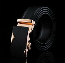 Men's Fashion Black Genuine Leather Alloy Automatic Buckle Waist Strap Belt