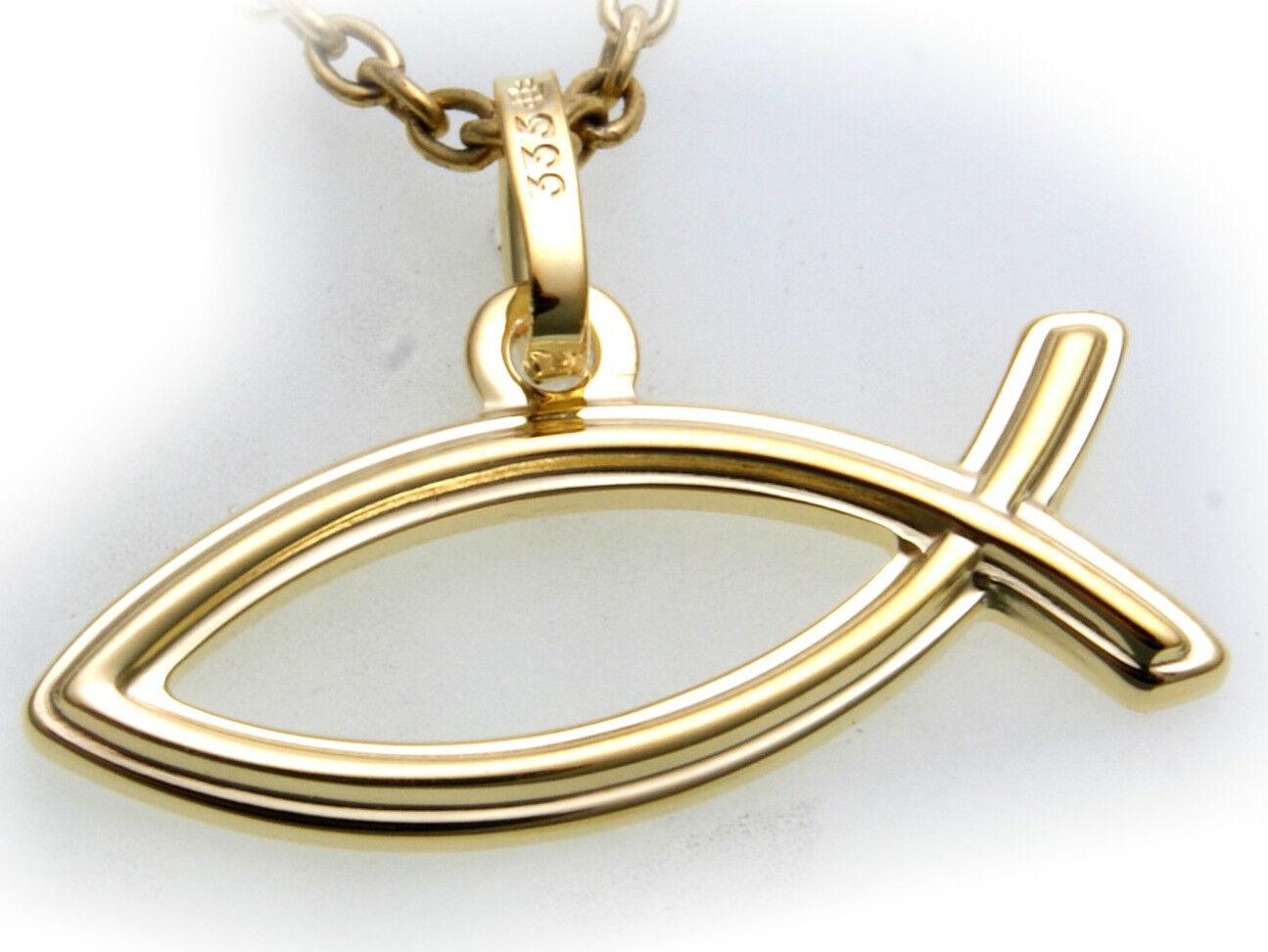 Colgante Ychthis gold Real 333 8kt yellow Superior Macizo Pez Cristianismo