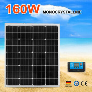 12V-160W-MONO-Solar-Panel-Kit-Home-Caravan-Camping-Power-Charging-Regulator