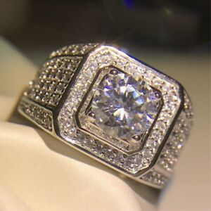 3ct Luxury Engagement Round Cut Cz Band Men S 925 Silver Wedding