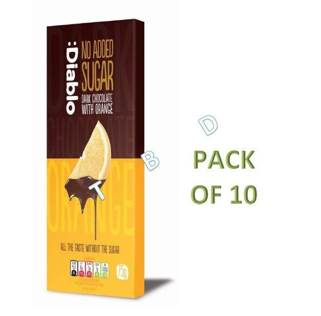 Diablo No Added Sugar Dark Chocolate With Orange 75g Pack Of 10