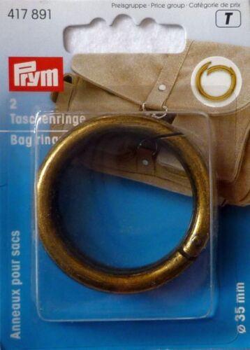 Prym 2 Taschenringe mit Karabineröffnung 35mm altmessing 417891