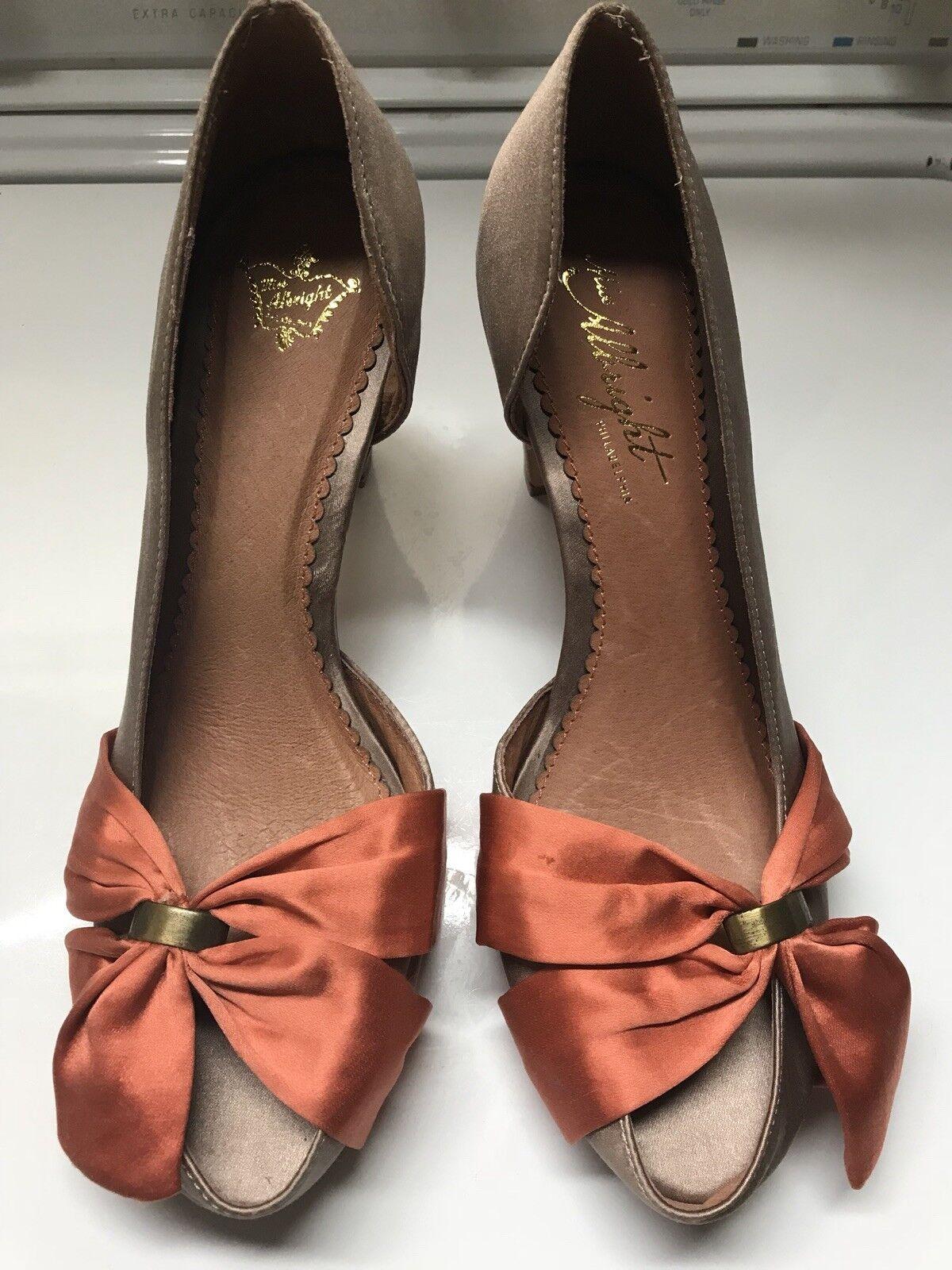Miss Albright Silky Wedge Pump Peep Toe With Bow Größe 39/8.5