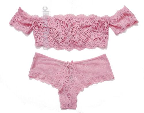 Mauve Secret haak set Roze off Lace Victoria's Bralette shoulder uitgesneden Cdxqww0B