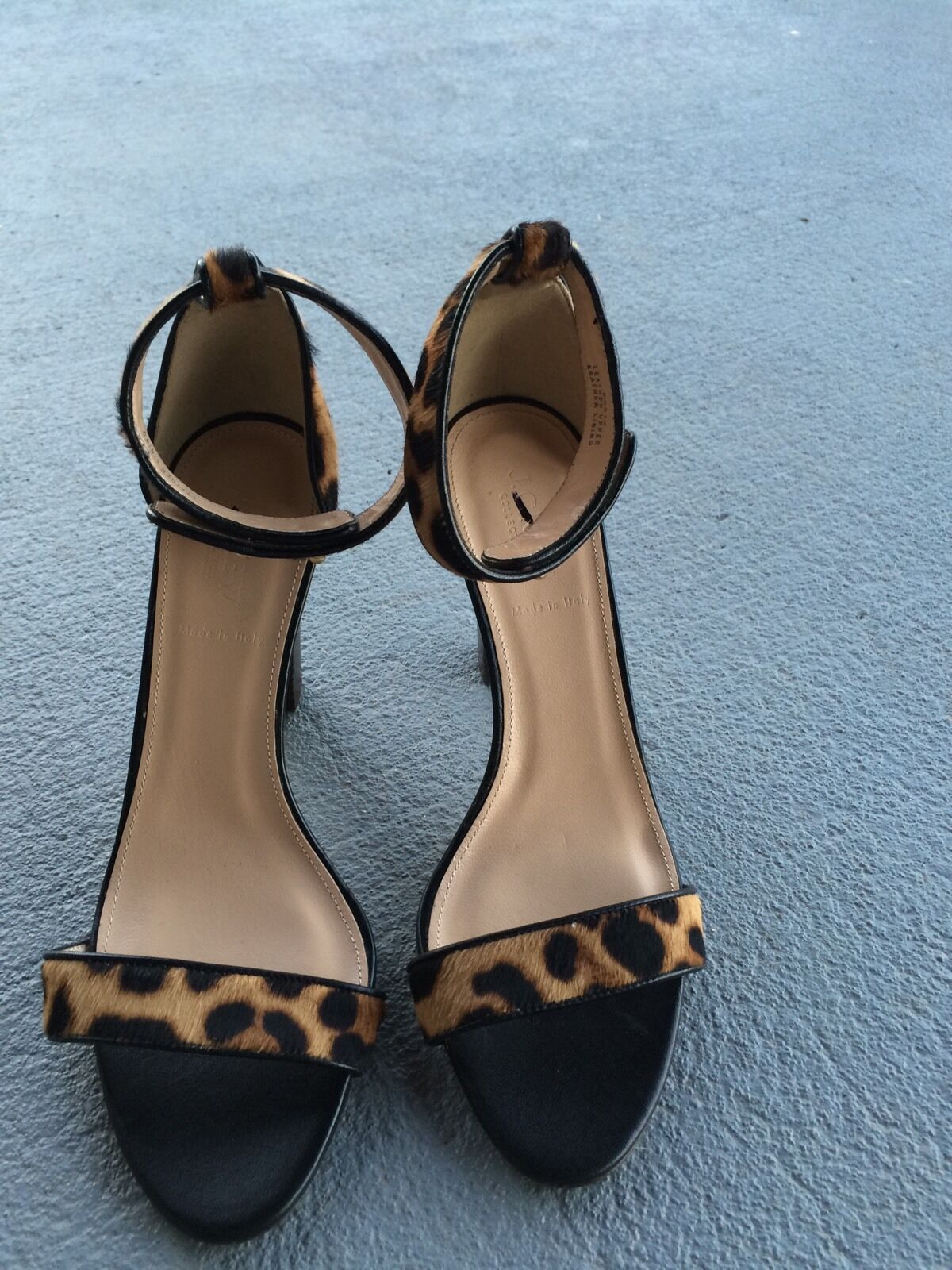 J CREW COLLECTION Lanie Calf-Hair Stacked Heel Heel Heel Sandale Größe 9 325 Leopard #A0512 f7c6da