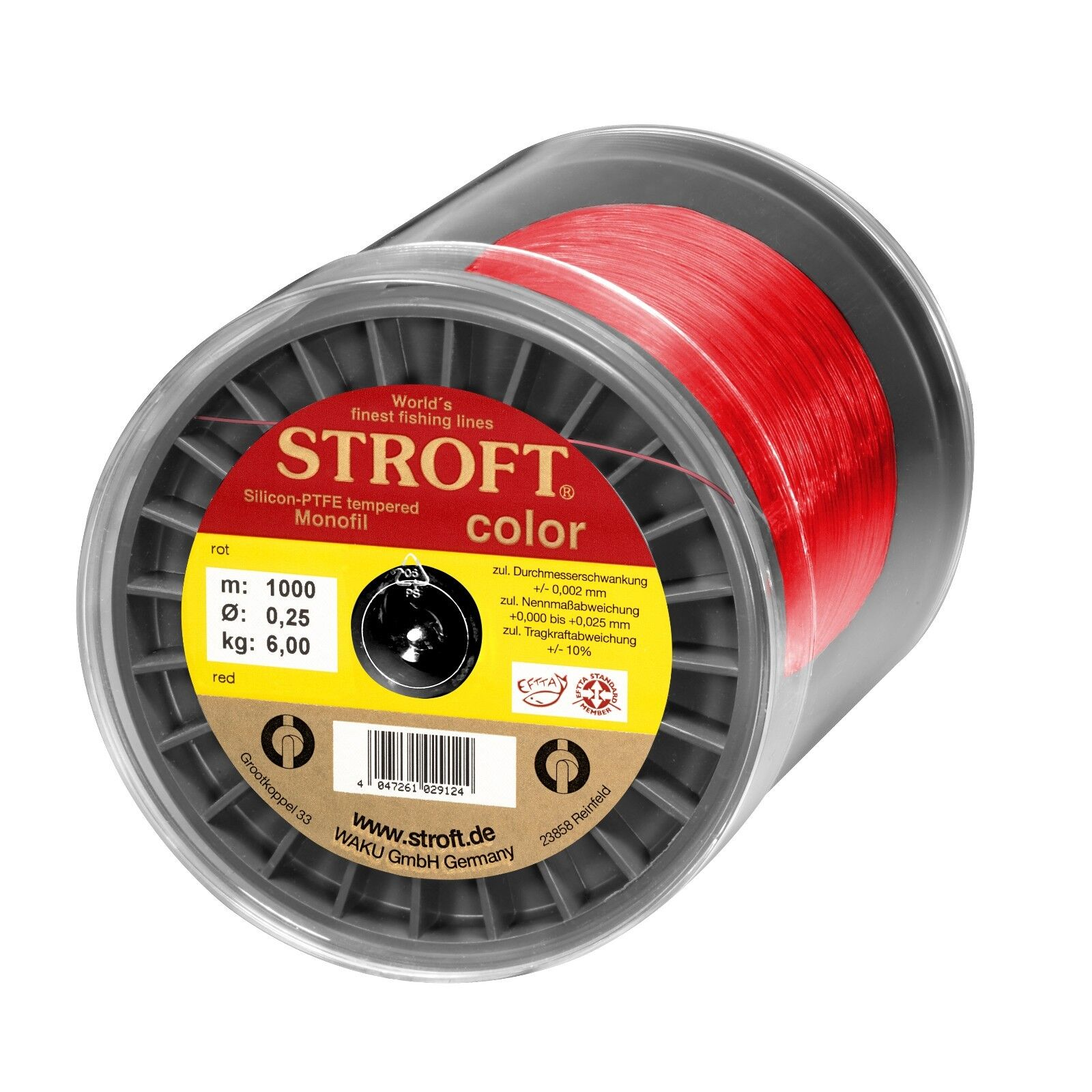 Stroft color red Monofile Angelschnur  500 m + 1000 m Spulen