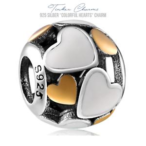 925er-Silber-034-Gold-Silber-Herzen-034-Charm-Armband-kompatibel-mit-P-Charms