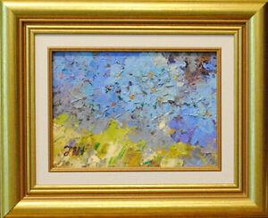 Flowering Yoshino cherry. Original framed  oil on paper 15x22 cm painting