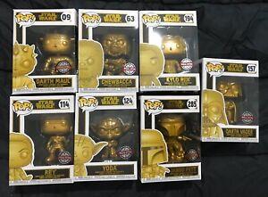 Funko-Pop-Star-Wars-Metallic-Gold-Set-Special-Edition-7-Figures-Bobble-Head