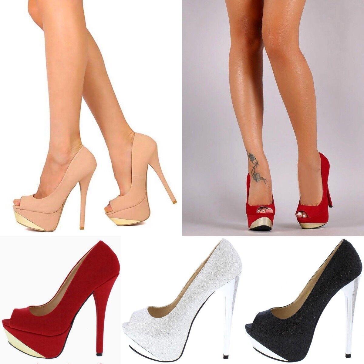 "Sexy 6"" Open Peep Toe Exotic wear Stiletto High Heels Platform Pumps Size H191"