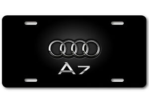 AUDI RINGS Aluminum White Metal Car Auto License Plate Tag New