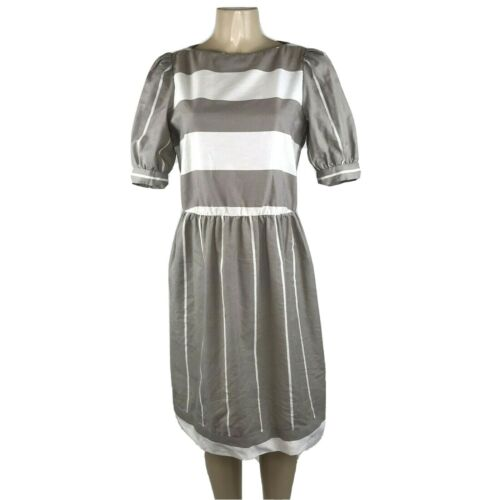 1980s Dress Big Puff Sleeves Button Boat Neck Stri