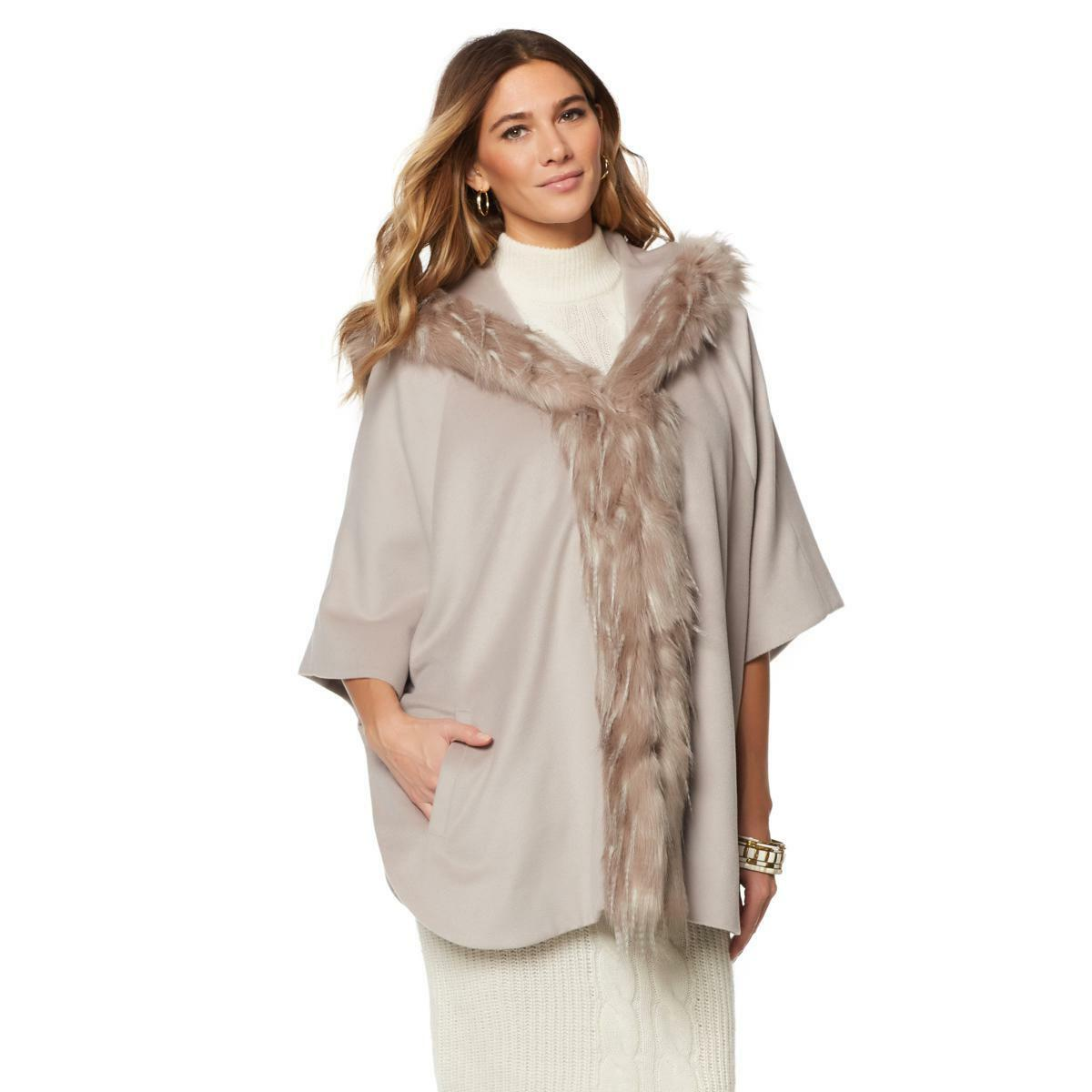 A by Adrienne Landau Taupe Hooded Hooded Hooded Kimono with Faux Fox Trim, XS S 72c564