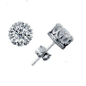 New-925-Silver-Filled-Crystal-10mm-Crown-Style-Fashion-Stud-Earrings-Stunning
