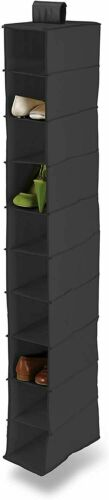 10 POCKET SHELF HANGING SHOE STORAGE RACK HOLDER STAND ORGANISER WARDROBE UNIT