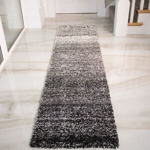 Details About Modern Black Silver Hallway Gy Runner Rugs Faded Striped Grey Long Runners