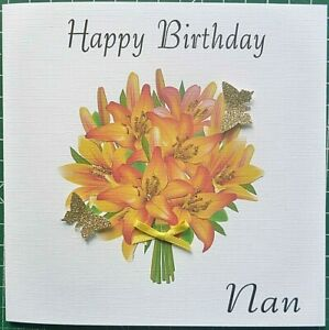 Personalised Hand made Ladies Birthday /&  All Celebration Flower Card 6 in sq