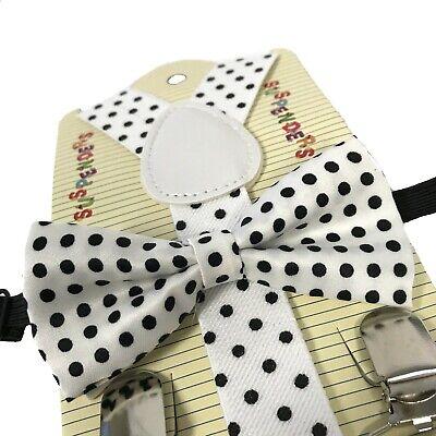 Baby Toddler Kids Child Blue White Polka Dot Suspenders Bow Tie Gift Box Set