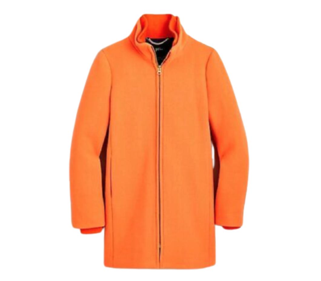 NWT JCREW Lodge Coat Womens 2 10 Orange Italian Stadium Cloth Wool NEW Jacket