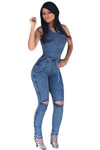 Abito-tuta-aderente-Blue-jeans-Tagli-Nudo-Scollo-Casual-Denim-Jumpsuit-Dress-M