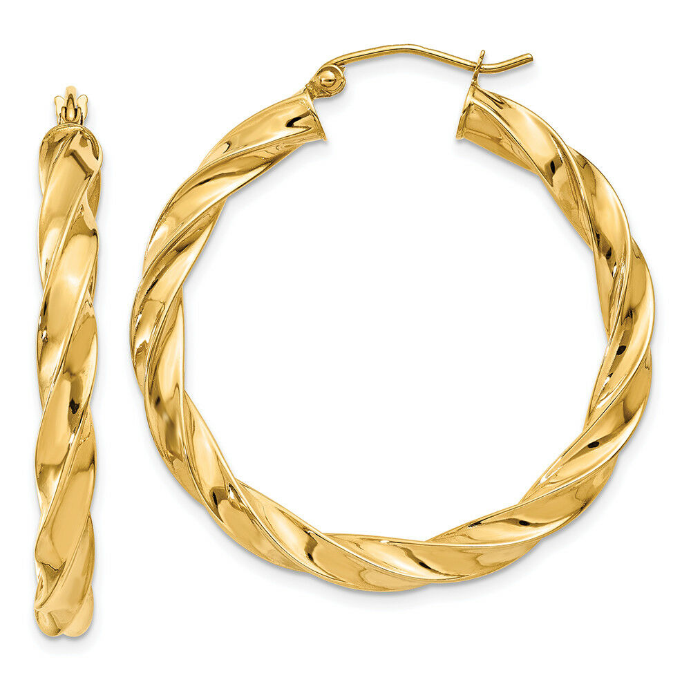 14K Yellow gold 4 MM Light Twisted Round Hoop Earrings MSRP  615