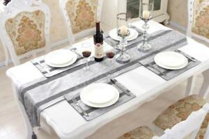 Image is loading Silver-Table-Runner-Placemat-Set-Flocked-Damask-Chenille- & Silver Table Runner Placemat Set Flocked Damask Chenille for Home ...