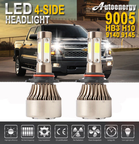 9005 HB3 H10 LED Headlight Pair 1960W 300000LM 6000K Car Bulb Bright 4-Side Chip