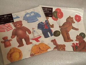 Vintage-Sheets-Gordon-Fraser-Gift-Wrap-Paper-Bear-Paper-Doll-Bear-with-Balloons