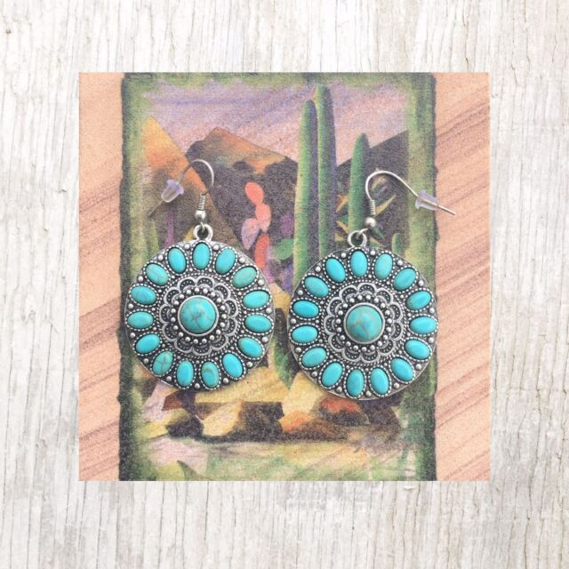 Western Turquoise Silver Concho Earrings Dangle Cowgirl Southwestern Rodeo