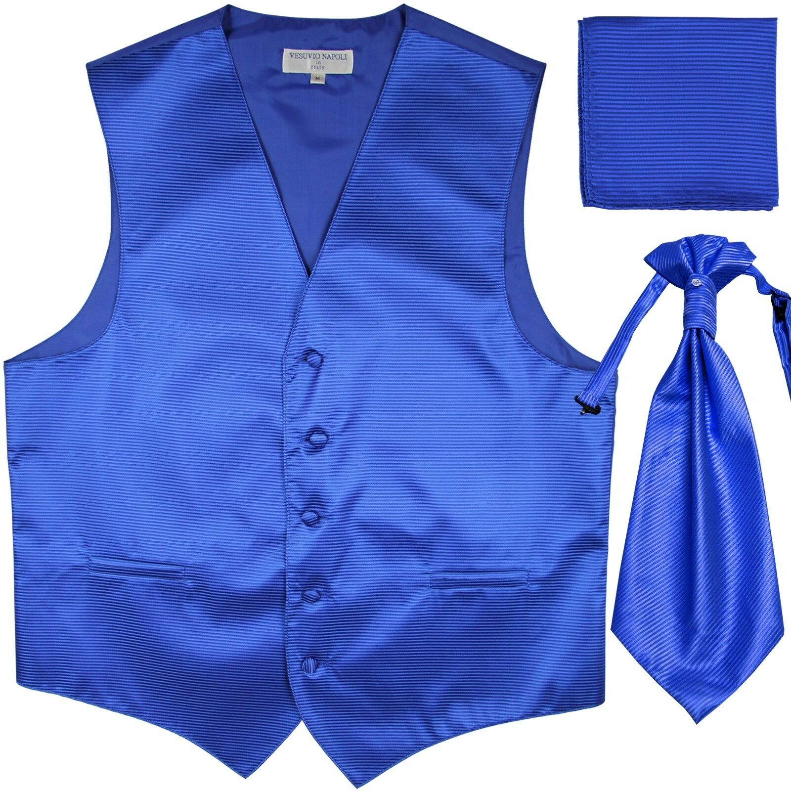 New Men's Horizontal Stripes Tuxedo Vest Waistcoat & Ascot set Royal bluee formal