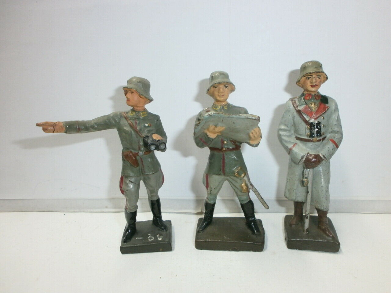 Konvolut 3 Antiguo Lineol Massesoldaten Generalidad Oficiales Zu 7.5cm